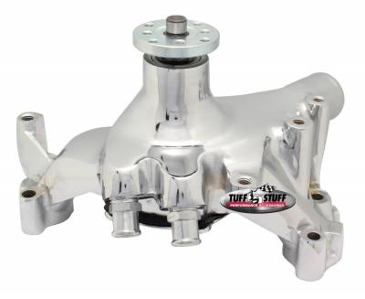 Tuff Stuff Performance - SuperCool Water Pump 7.281 in. Hub Height 5/8 in. Pilot Long Reverse Rotation (2) Threaded Water Ports Chrome 1461NBREV