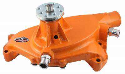 Tuff Stuff Performance - SuperCool Water Pump 5.750 in. Hub Height 5/8 in. Pilot Short (2) Threaded Water Ports Orange Powdercoat w/Chrome Accents 1494NCORANGE