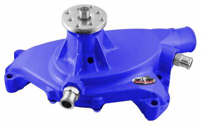 Tuff Stuff Performance - Platinum SuperCool Water Pump 5.750 in. Hub Height 5/8 in. Pilot Short (2) Threaded Water Ports Aluminum Casting Blue Powdercoat w/Chrome Accents 1495ACBLUE