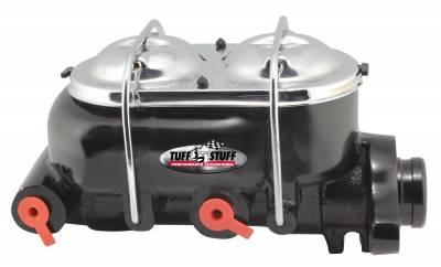 Tuff Stuff Performance - Brake Master Cylinder Dual Reservoir 1 in. Bore Dual 3/8 in. Ports On Both Sides 3 1/2 in. Mounting Hole Spacing Shallow Hole Black Powdercoat 2020NC