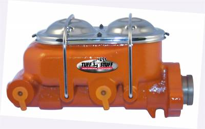Tuff Stuff Performance - Brake Master Cylinder Dual Reservoir 1 in. Bore Dual 3/8 in. Ports On Both Sides 3 1/2 in. Mounting Hole Spacing Shallow Hole Orange Powdercoat 2020NCORANGE