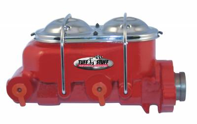 Tuff Stuff Performance - Brake Master Cylinder Dual Reservoir 1 in. Bore Dual 3/8 in. Ports On Both Sides 3 1/2 in. Mounting Hole Spacing Shallow Hole Red Powdercoat 2020NCRED