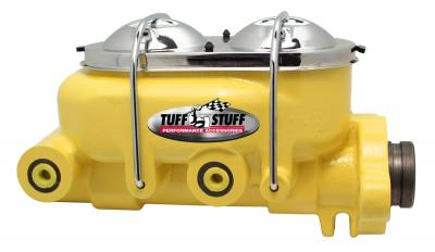 Tuff Stuff Performance - Brake Master Cylinder Dual Reservoir 1 in. Bore Dual 3/8 in. Ports On Both Sides 3 1/2 in. Mounting Hole Spacing Shallow Hole Yellow Powdercoat 2020NCYELLOW