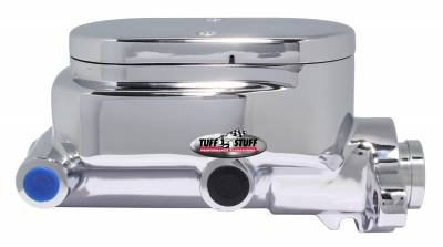 Tuff Stuff Performance - Brake Master Cylinder Dual Reservoir Aluminum Smoothie 1 1/8 in. Bore 9/16 in. And 1/2 in. Driver Side Ports Shallow Hole Chrome Fits Hot Rods/Customs/Muscle Cars 2027NC