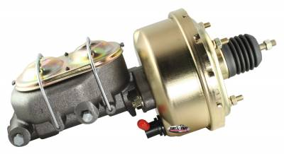 Tuff Stuff Performance - Brake Booster w/Master Cylinder Univ. 7 in 1 in. Bore Single Diaphragm w/PN[2018] Dual Rsvr. Master Cyl. Incl. 3/8 in.-16 Mtg. Stud/Hardware Gold Zinc 2121NB-2