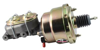 Tuff Stuff Performance - Brake Booster w/Master Cylinder Univ. 7 in. 1 1/8 in. Bore Dual Diaphragm w/PN[2071] Dual Rsvr. Master Cyl. Incl. 3/8 in.-16 Mtg. Studs/Hardware Gold Zinc 2122NB