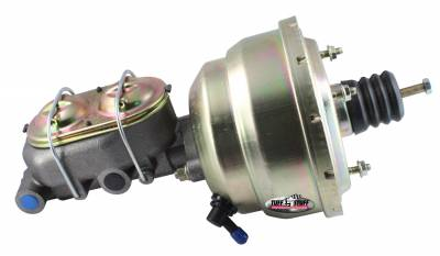 Tuff Stuff Performance - Brake Booster w/Master Cylinder Univ. 8 in. 1 1/8 in. Bore Dual Diaphragm w/PN[2071] Dual Rsvr. Master Cyl. Incl. 3/8 in.-16 Mtg. Studs/Hardware Gold Zinc 2123NB