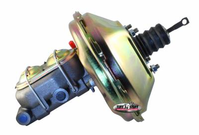 Tuff Stuff Performance - Brake Booster w/Master Cylinder Univ. 11 in. 1 in. Bore Single Diaphragm w/PN[2018] Dual Rsvr. Master Cyl. Gold Zinc 2128NB-2