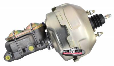 Tuff Stuff Performance - Brake Booster w/Master Cylinder 9 in. 1 in. Bore Dual Diaphragm YZ Rod w/PN[2018] Dual Rsvr. Master Cyl. 10x1.5 Metric 3/8-24 Pedal Rod Threads Gold Zinc 2129NB-2