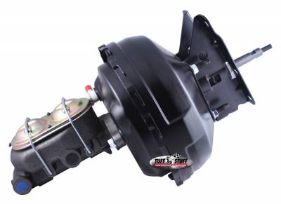 Tuff Stuff Performance - Brake Booster w/Master Cylinder 11 in. 1 in. Bore Dual Diaphragm w/PN[2018] Dual Rsvr. Master Cyl. 10x1.5 Metric Studs 3/8 in.-16 Pedal Rod Threads Black 2132NB-2