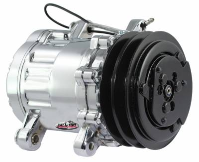 Tuff Stuff Performance - Peanut Style SD7 A/C Compressor R134A Series Double Pulley Chrome 4517NADP