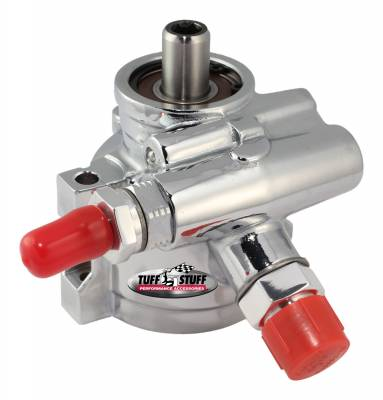 Tuff Stuff Performance - Type II Power Steering Pump AN-6 And AN-10 Fitting 3/8 in. Through Hole Mounting Btm Pressure Port Aluminum For Street Rods/Custom Vehicles w/Limited Engine Space Polished 6170ALP