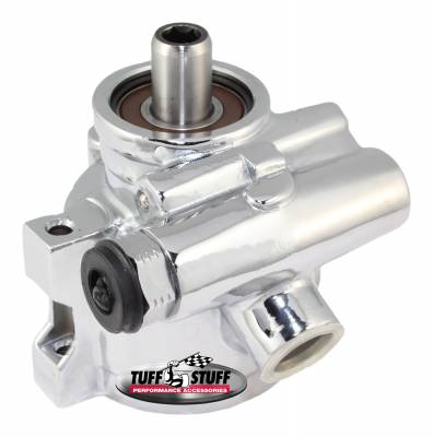 Tuff Stuff Performance - Type II Power Steering Pump GM Pressure Slip Fitting M8x1.25 Threaded Hole Mounting Btm Pressure Port For Street Rods/Custom Vehicles w/Limited Engine Space Polished 6170ALP-1