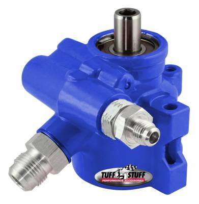 Tuff Stuff Performance - Type II Power Steering Pump An-6 And AN-10 Fittings 3/8 in. Through Hole Mounting Aluminum For Street Rods/Custom Vehicles w/Limited Engine Space Blue 6175ALBLUE