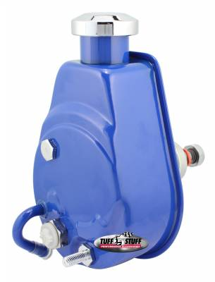 Tuff Stuff Performance - Saginaw Style Power Steering Pump Univ. Fit 5/8 in. Keyed Shaft 1200 PSI 5/8-18 SAE Pressure Fittings 3/8 in.-16 Mtg. Holes Blue Powdercoat w/Chrome Accents 6176BBLUE