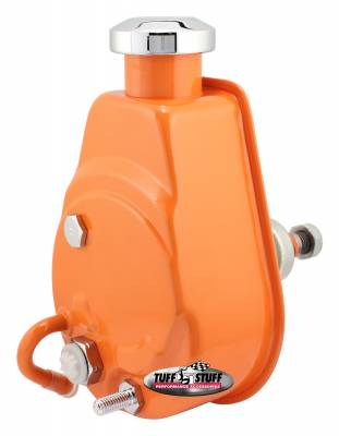 Tuff Stuff Performance - Saginaw Style Power Steering Pump Univ. Fit 5/8 in. Keyed Shaft 1200 PSI 5/8-18 SAE Pressure Fittings 3/8 in.-16 Mtg. Holes Orange Powdercoat w/Chrome Accents 6176BORANGE
