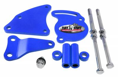 Tuff Stuff Performance - Power Steering Pump Bracket Short Fits Tuff Stuff Type II Power Steering Pumps Blue Powdercoat w/Chrome Hardware 6506BBLUE