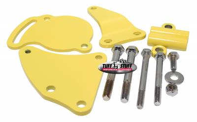 Tuff Stuff Performance - Power Steering Pump Bracket Short Fits Tuff Stuff Type II Power Steering Pumps Yellow Powdercoat w/Chrome Hardware 6506BYELLOW