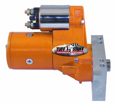 Tuff Stuff Performance - Gear Reduction Starter 1.4 KW 1.9 HP w/Straight Mounting Block 153 or 168 Tooth Flywheel Orange Powdercoat w/Chrome Accents 6584BORANGE