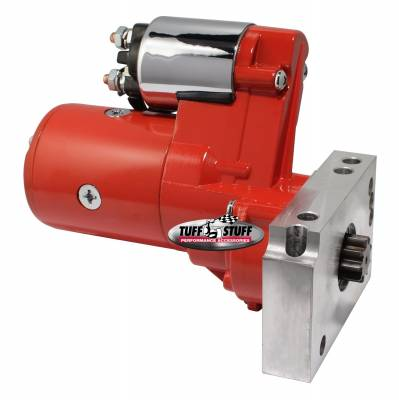 Tuff Stuff Performance - Gear Reduction Starter 1.4 KW 1.9 HP w/Straight Mounting Block 153 or 168 Tooth Flywheel Red Powdercoat w/Chrome Accents 6584BRED