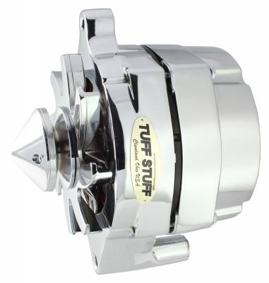 Tuff Stuff Performance - Silver Bullet Alternator Smooth Back 1 Wire 100 AMP V Bullet Pulley Chrome 7068ABULL