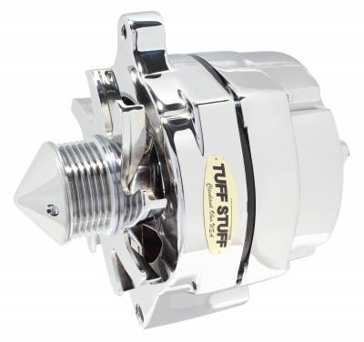 Tuff Stuff Performance - Silver Bullet Alternator Smooth Back 1 Wire 100 AMP 6 Groove Bullet Pulley Chrome 7068ABULL6G