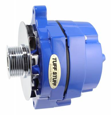 Tuff Stuff Performance - Alternator Smooth Back 1 Wire 100 AMP 6 Groove Pulley Blue Powdercoat w/Chrome Accents 7068RF6GBLUE