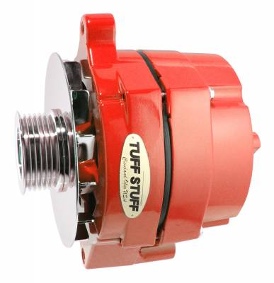 Tuff Stuff Performance - Alternator Smooth Back 1 Wire 100 AMP 6 Groove Pulley Red Powdercoat w/Chrome Accents 7068RF6GRED