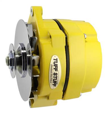 Tuff Stuff Performance - Alternator 100 AMP OEM Or 1 Wire V Groove Pulley Yellow Powdercoat w/Chrome Accents 7127NFYELLOW