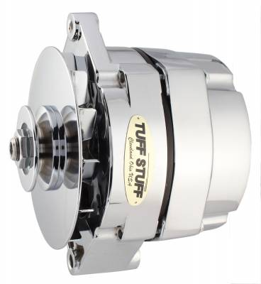 Tuff Stuff Performance - Alternator 65 AMP OEM Or 1 Wire 6 Volt Negative Ground V Groove Pulley Chrome 7127NG