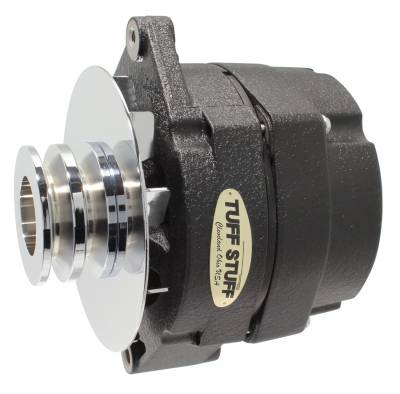 Tuff Stuff Performance - Alternator 140 AMP OEM Or 1 Wire Double Groove Pulley Black Wrinkle 7127NKBWDP