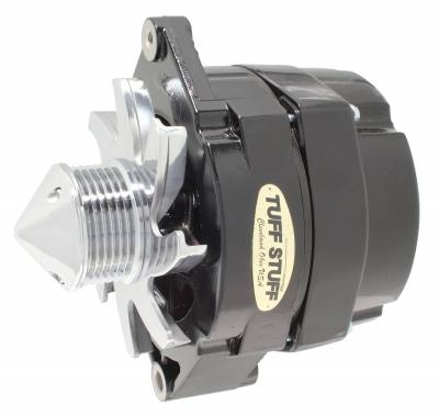 Tuff Stuff Performance - Silver Bullet Alternator 140 AMP OEM Or 1 Wire 6 Groove Pulley 4.85 in. Case Depth Lower Mount Boss 2 in. Long Black 7140FBULL6G
