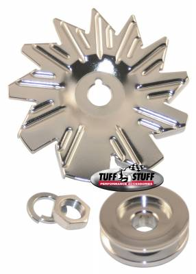 Tuff Stuff Performance - Alternator Fan And Pulley Combo Single V Groove Pulley Incl. Fan/Lockwasher/Nut Chrome Plated 7600A