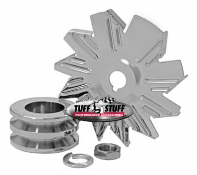 Tuff Stuff Performance - Alternator Fan And Pulley Combo Double V Groove Pulley Incl. Fan/Lockwasher/Nut Chrome Plated 7600B