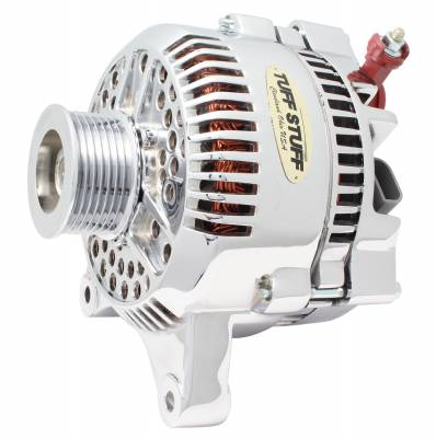 Tuff Stuff Performance - Alternator 200 AMP Upgrade OEM Wire 7 Grove Pulley Internal Regulator Aluminum Polished 7764DP