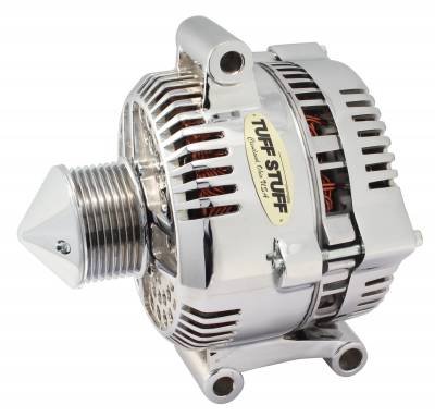 Tuff Stuff Performance - Silver Bullet Alternator 225 AMP Upgrade OEM Wire 8 Groove Pulley Internal Regulator Polished 7768DPBULL