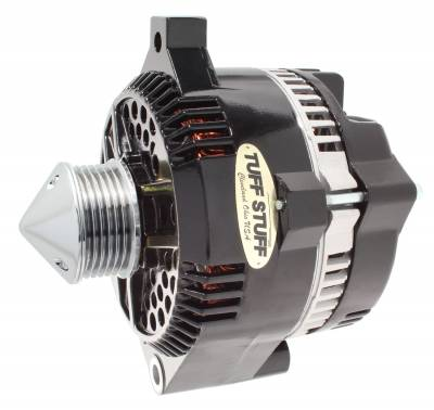 Tuff Stuff Performance - Silver Bullet Alternator 225 AMP OEM Wire 6 Groove Pulley Internal Regulator Black 7771CBULL6G