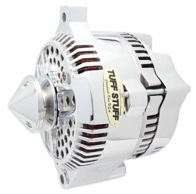 Tuff Stuff Performance - Silver Bullet Alternator 225 AMP OEM Wire V Groove Pulley Internal Regulator Polished 7771DPBULL