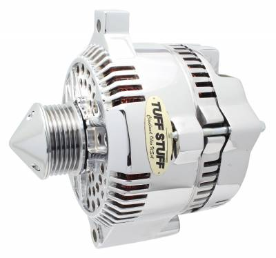 Tuff Stuff Performance - Silver Bullet Alternator 225 AMP OEM Wire 6 Groove Pulley Internal Regulator Polished 7771DPBULL6G