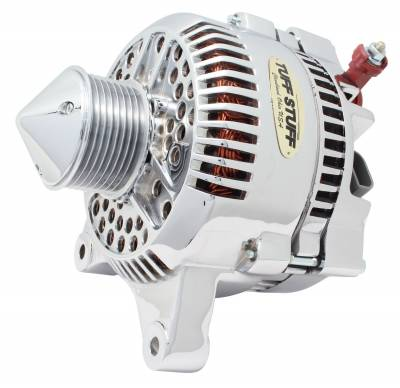 Tuff Stuff Performance - Silver Bullet Alternator 225 AMP Upgrade OEM Wire 8 Groove Pulley Internal Regulator Chrome 7791DBULL