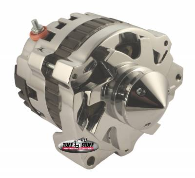 Tuff Stuff Performance - Silver Bullet Alternator 160 AMP 1 Wire V Groove Pulley Chrome 7860ABULL