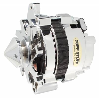 Tuff Stuff Performance - Silver Bullet Alternator 160 AMP 1 Wire V Groove Pulley Chrome 7935ABULL