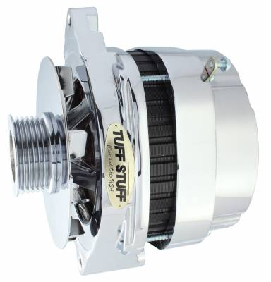Tuff Stuff Performance - Alternator 140 AMP OEM Wire 6 Groove Pulley Low Idle Cut-In Internal Voltage Regulator Aluminum Polished 8173NAP