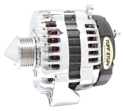 Tuff Stuff Performance - Silver Bullet Alternator 225 AMP OEM Wire 6 Groove Pulley Chrome 8302CBULL6G