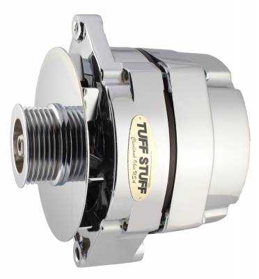 Tuff Stuff Performance - Alternator 100 AMP 1 Wire Connection 6 Groove Serpentine Pulley Chrome 12 Clocking 7127ND6G12