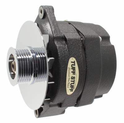 Tuff Stuff Performance - Alternator 100 AMP OEM Or 1 Wire 6 Groove Pulley Black Wrinkle 7127NFBW6G
