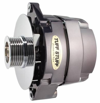 Tuff Stuff Performance - Alternator 140 AMP OEM Or 1 Wire 6 Groove Pulley Black Chrome 7127NK6G7