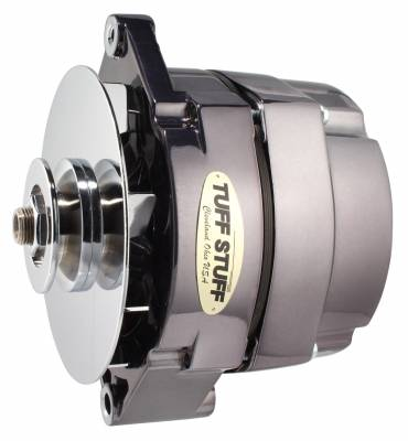 Tuff Stuff Performance - Alternator 140 AMP OEM Or 1 Wire V Groove Pulley Black Chrome 7127NK7