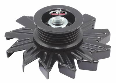 Tuff Stuff Performance - Alternator Fan And Pulley Combo 5 Groove Serpentine Pulley Incl. Fan/Lock Washer/Nut Stealth Black 7600CB