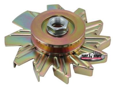 Tuff Stuff Performance - Alternator Fan And Pulley Combo Single V Groove Pulley Incl. Fan/Lock Washer/Nut Gold Zinc 7600AD